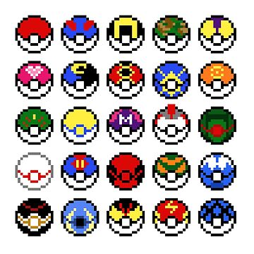 Pokeballs - pixel art by galegshop