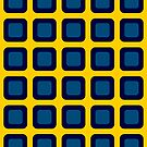 Seeing Spots Blue & Gold Cube Grid Illusion by EvePenman