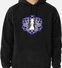White Chess King Piece in Atomic Swaps Abstract Spiral Lines Pullover Hoodie