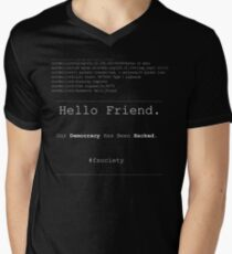 Hello Friend@fsociety Men's V-Neck T-Shirt
