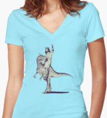 Jesus Riding Dinosaur Women's Fitted V-Neck T-Shirt