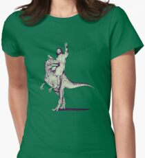 Jesus Riding Dinosaur Womens Fitted T-Shirt