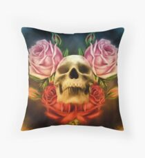 Skull And Rose's  Throw Pillow