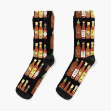 Spicy! Check out these hot sauces on black background Sock