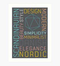 Scandinavian Typography Hexagon Pastel  Art Print