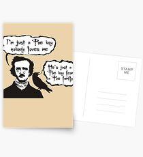 I'm just a Poe boy nobody loves me Postcards