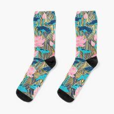 Art Deco Lotus Blumen in Pink & Navy Socken