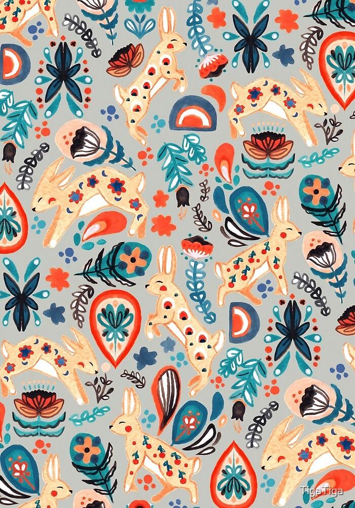 Rabbit Folk Art Pattern  by TigaTiga