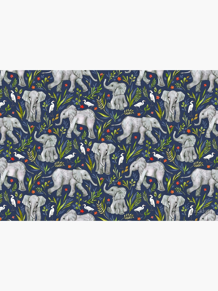Baby Elephants and Egrets in Watercolor - navy blue by micklyn
