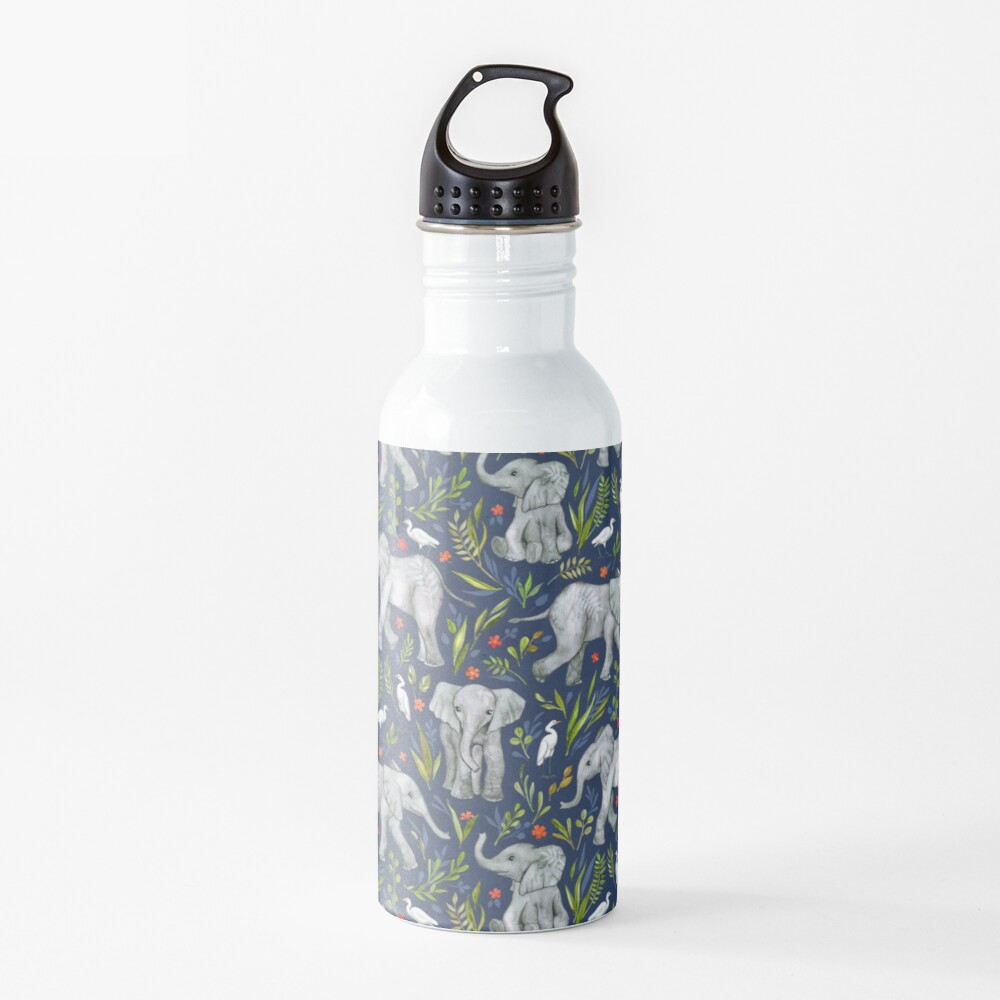 Baby Elephants and Egrets in Watercolor - navy blue Water Bottle