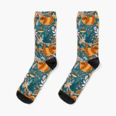 Happy Boho Sloth Floral  Socks