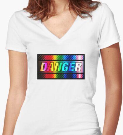 DANGER v0 Fitted V-Neck T-Shirt