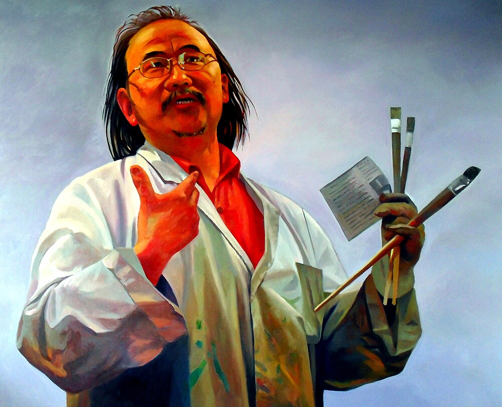 Portrait painting of David Chen the artist by Guntis Jansons