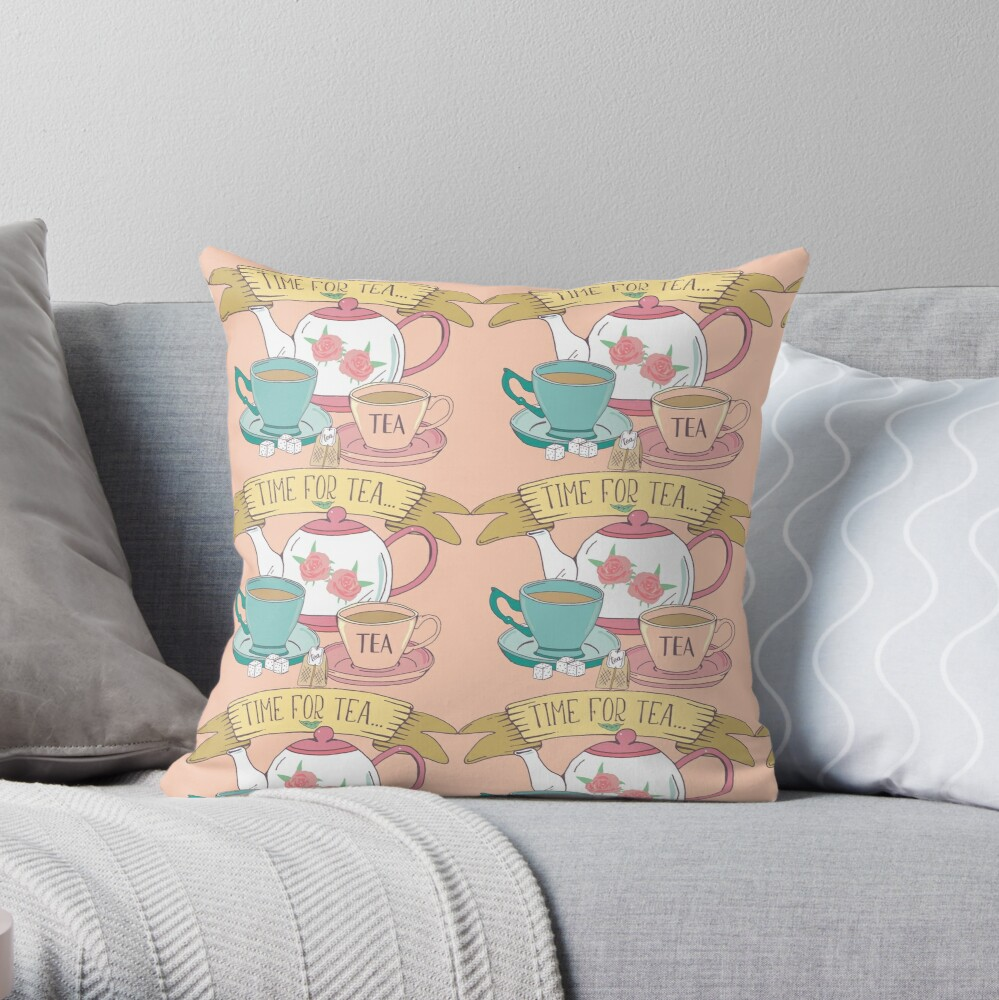 Time For Tea Aesthetic Tea Design in Vintage Pink and Blue Throw Pillow