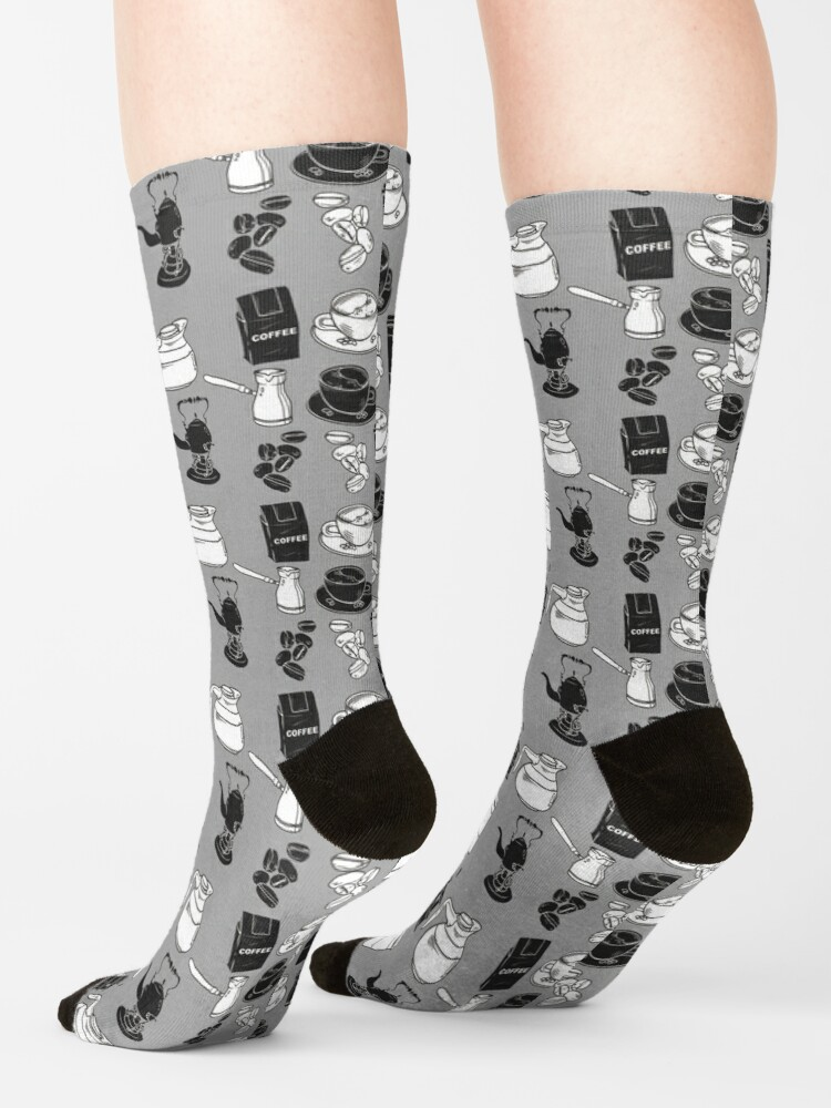 Alternate view of Coffee black and white pattern Socks