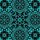 Blue and black kaleidoscope pattern #1 by CraftyArts