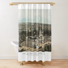 19th century bird's eye view of Washington Shower Curtain