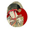 Japanese Flag - Woman with fan and transparent hat by weavernap