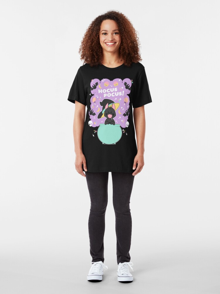 Alternate view of Hocus POCUS! Lucky the Black Cat Slim Fit T-Shirt