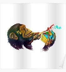 Monkey rubik's cube Poster