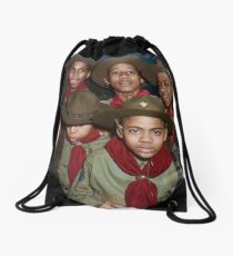 Troop 446 Boy Scouts meeting in Chicago, 1942 Drawstring Bag