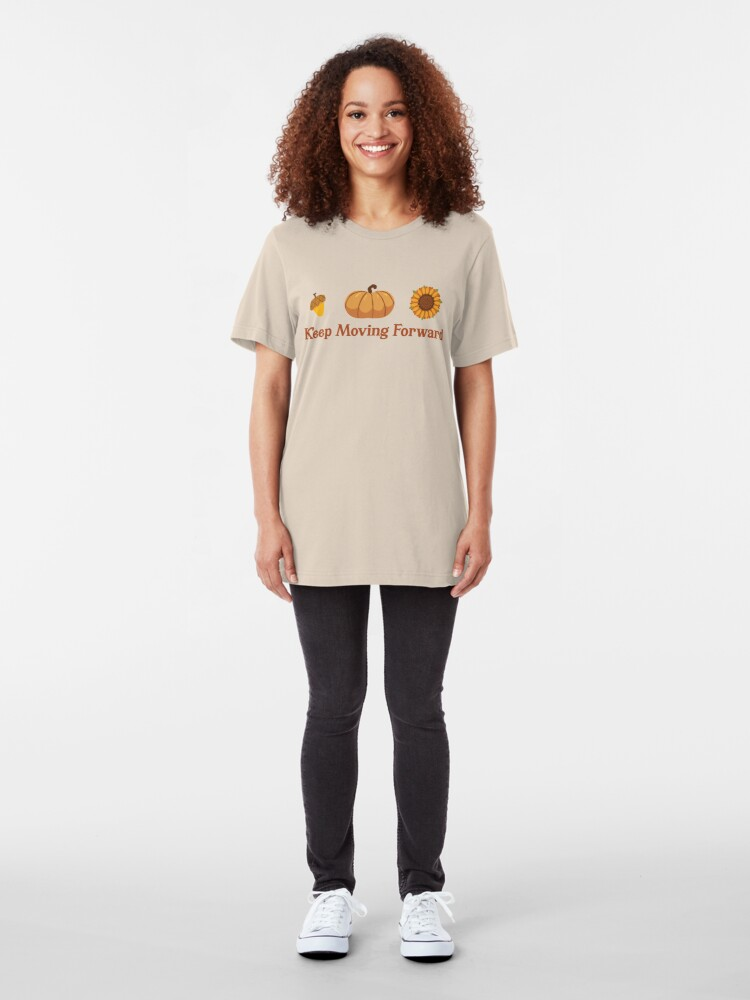 Alternate view of Keep Moving Forward + Acorn, Pumpkin, Sunflower (Ashley Scott Designs - Fall Collection) Slim Fit T-Shirt