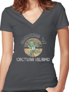 Cactuarathon- Final Fantasy Parody Women's Fitted V-Neck T-Shirt