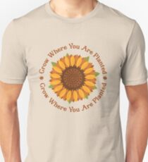 Grow Where You Are Planted + Sunflower (Ashley Scott Designs - Fall Collection) Slim Fit T-Shirt