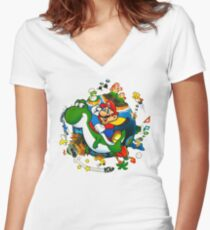 Super Mario World Planet. Women's Fitted V-Neck T-Shirt