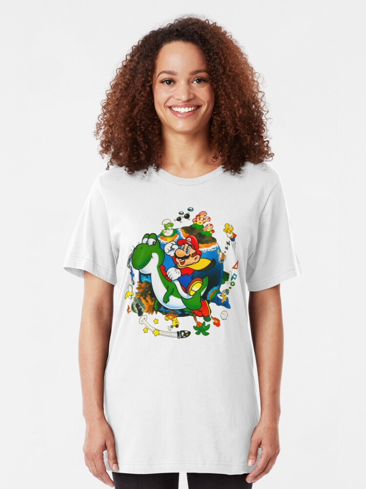 Alternate view of Super Mario World Planet. Slim Fit T-Shirt