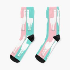 TWO STANDING LLAMA ON PINK AND BLUE Socks