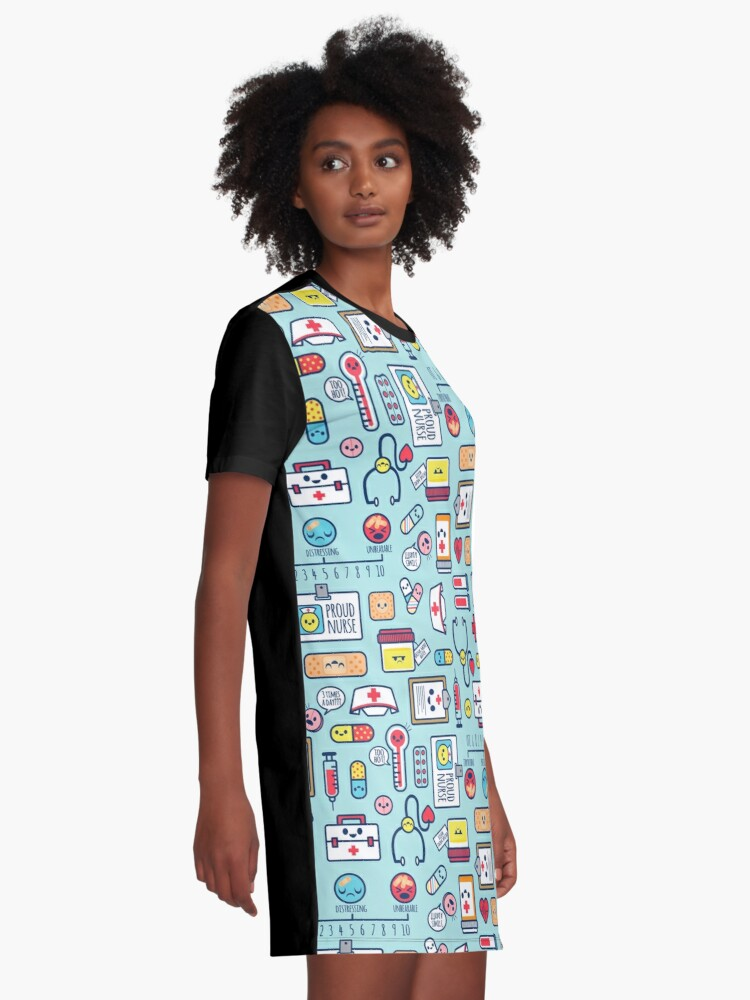 Alternate view of Proud To Be a Nurse / Surface Pattern Design / Blue Graphic T-Shirt Dress