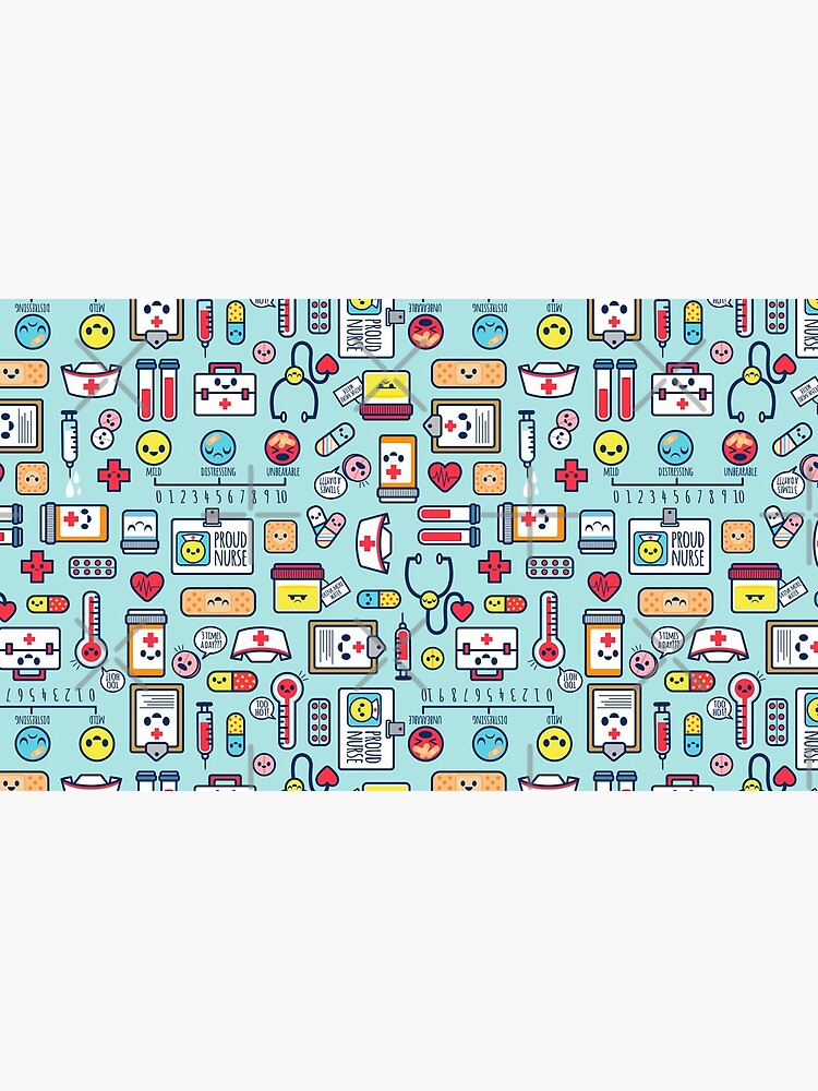 Proud To Be a Nurse / Surface Pattern Design / Blue by jsongdesign