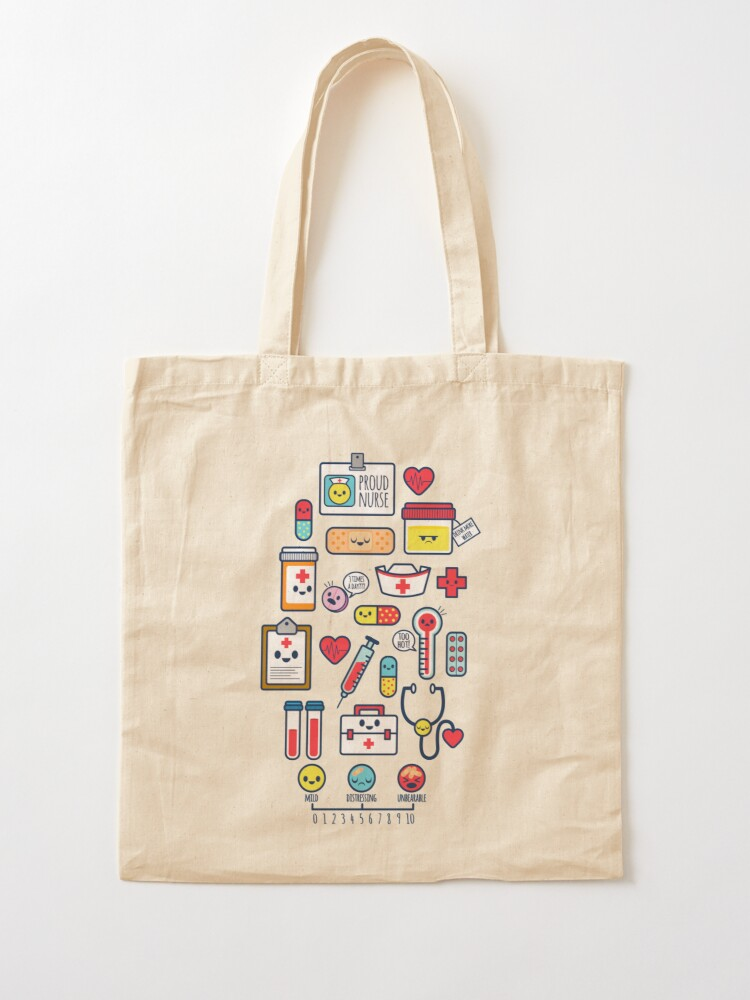 Alternate view of Proud To Be a Nurse / Surface Pattern Design / Blue Tote Bag