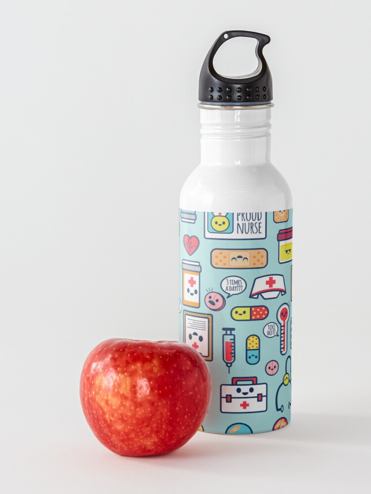 Alternate view of Proud To Be a Nurse / Surface Pattern Design / Blue Water Bottle