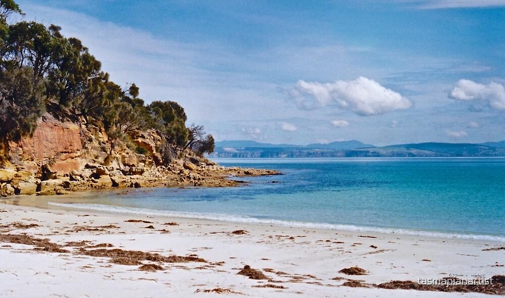 TASMAN PENINSULA ~ Lagoon Beach with Slopen Island by tasmanianartist by tasmanianartist