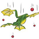Falling Frog and Cranberries by Wild Green Memes Store