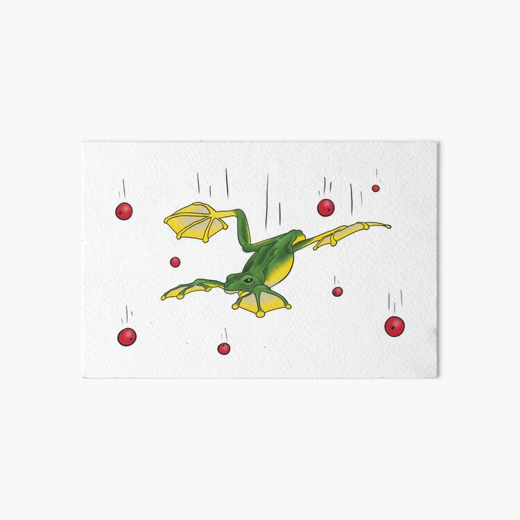 Falling Frog and Cranberries Art Board Print