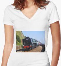 British Railways 70000 'Britannia' at Teignmouth Women's Fitted V-Neck T-Shirt