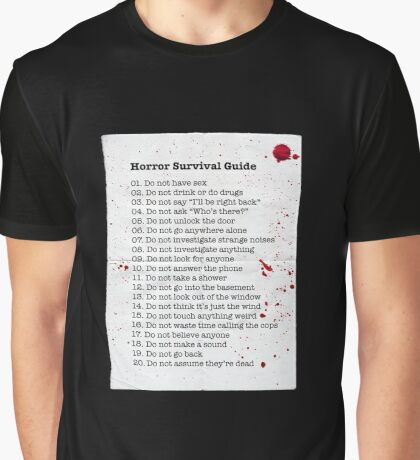 Horror Survival Guide Graphic T-Shirt