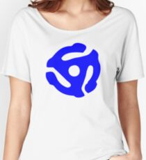 Blue 45 RPM Vinyl Record Holder Women's Relaxed Fit T-Shirt