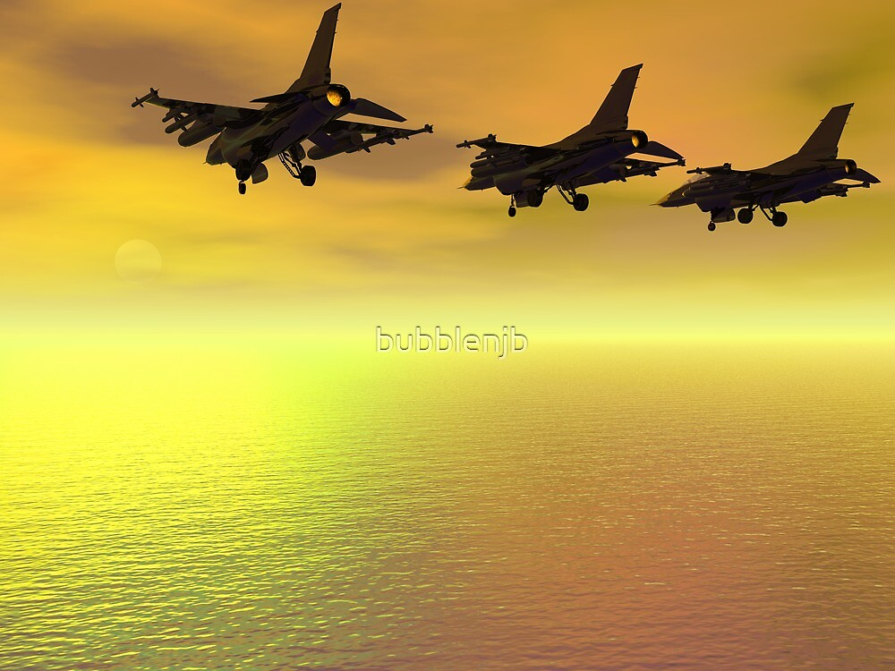 Three F-16 Fighters over the Ocean  by bubblenjb