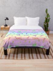 Rainbow Mythical Silkens Throw Blanket