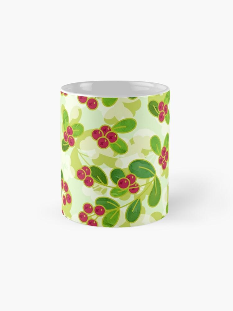 Alternate view of Cranberry Fruit Pattern on Green Mug