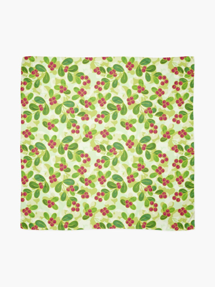 Alternate view of Cranberry Fruit Pattern on Green Scarf