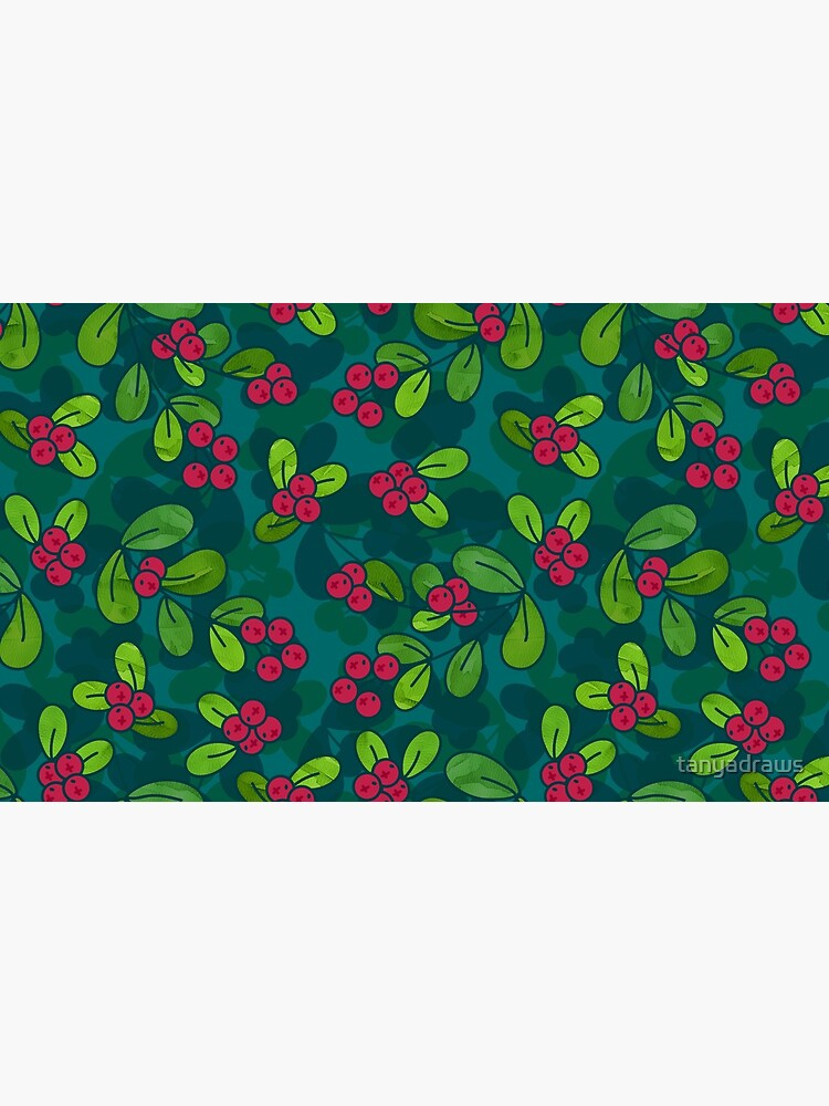 Cranberry Fruit Pattern on Dark Teal by tanyadraws