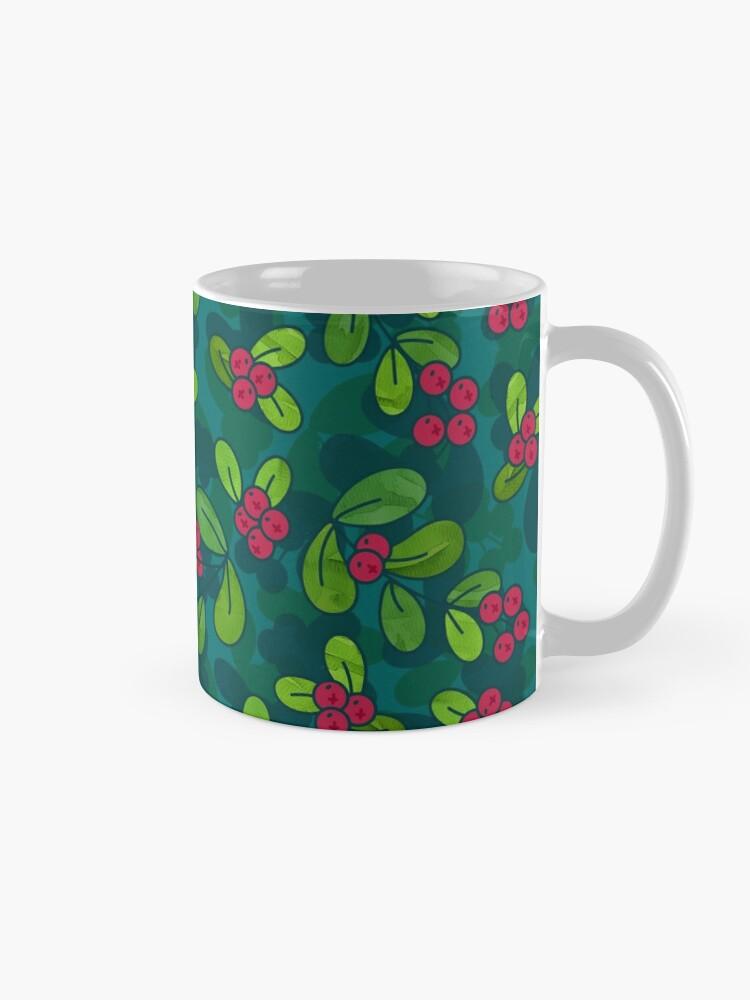 Alternate view of Cranberry Fruit Pattern on Dark Teal Mug