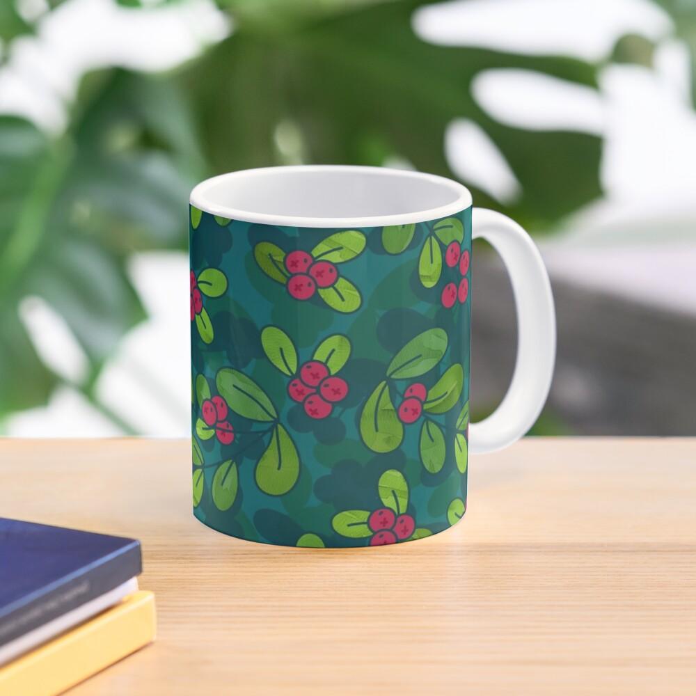 Cranberry Fruit Pattern on Dark Teal Mug