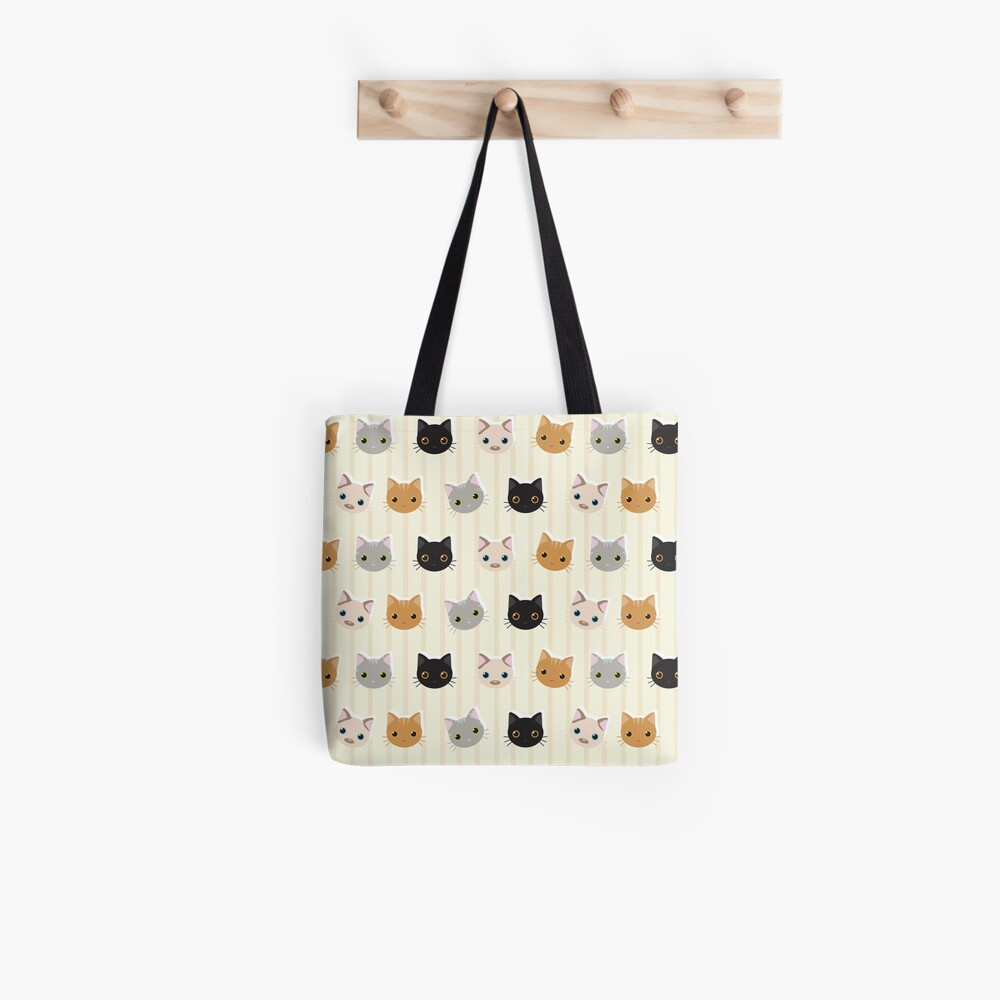 Kittens & Stripes Pattern Tote Bag