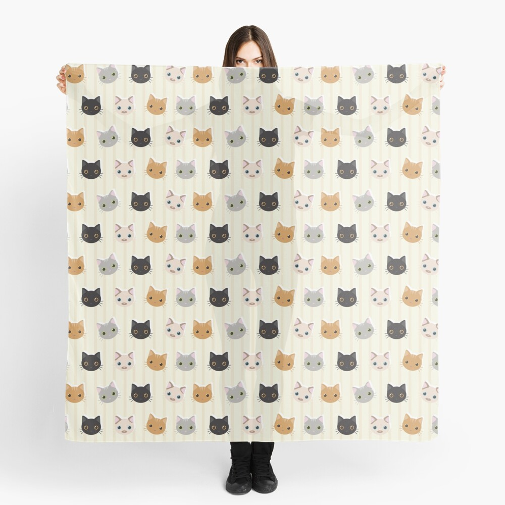 Kittens & Stripes Pattern Scarf